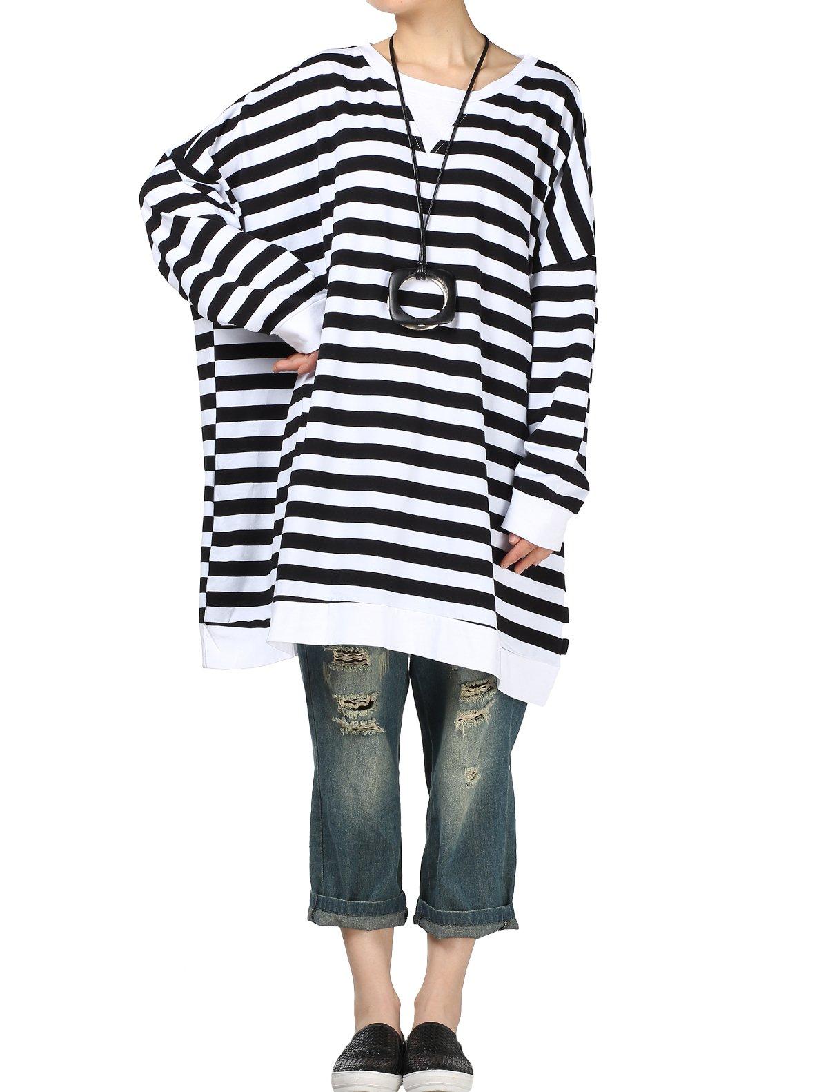 Mordenmiss Women's Long Sleeve Stripes Tops Loose T-shirt Dress (L, Style 3-Black)
