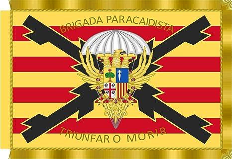 magFlags Bandera Large Estandarte de la Brigada «Almogávares» Vi de Paracaidistas Ejército de Tierra Español | Bandera Paisaje | 1.35m² | 90x150cm: Amazon.es: Jardín