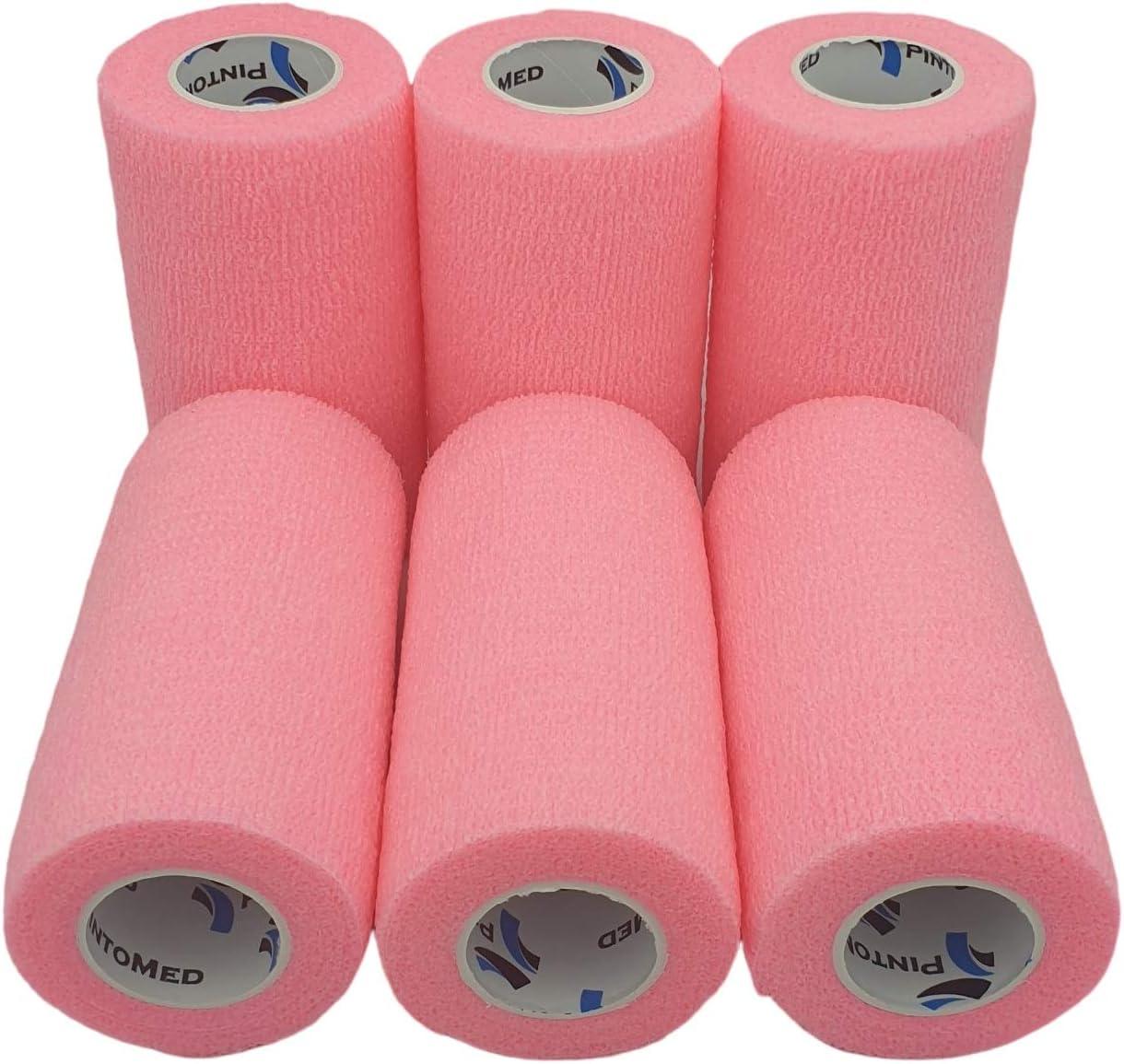 Venda Cohesiva Rosa 6 rollos x 10 cm x 4,5 m autoadhesivo flexible vendaje, calidad profesional, primeros auxilios, lesiones de los deportes, rodillos embalados individualmente - Pack de 6