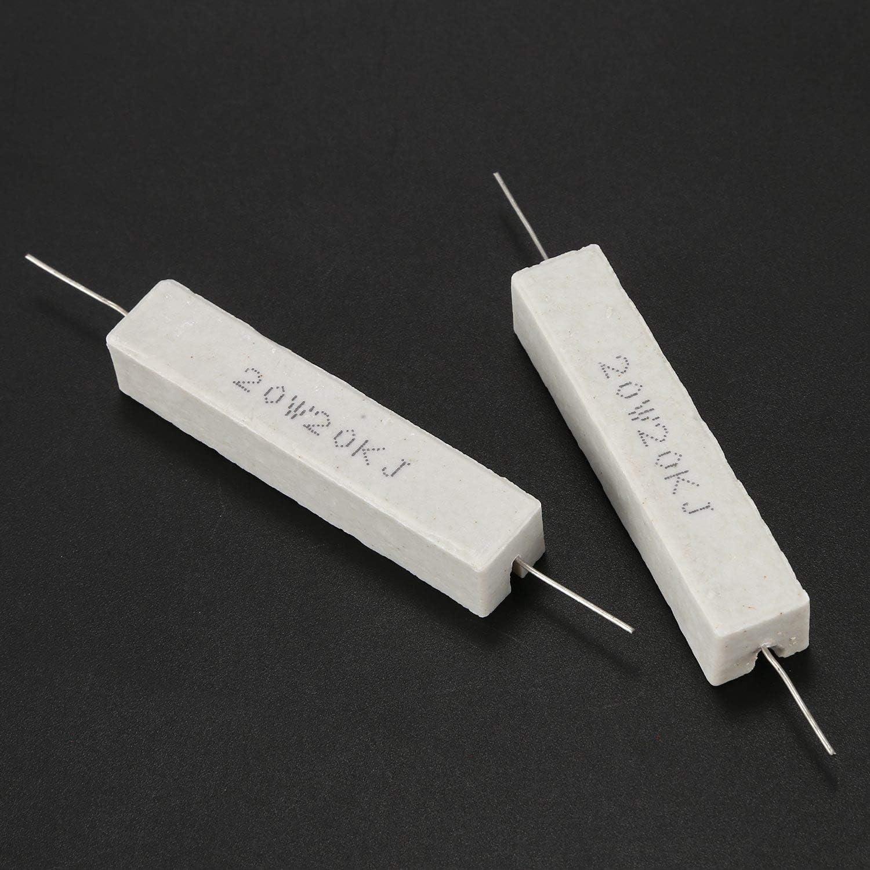SNOWINSPRING 2X Wire Wound Ceramic Cement Resistor 20K Ohm 20W Watt