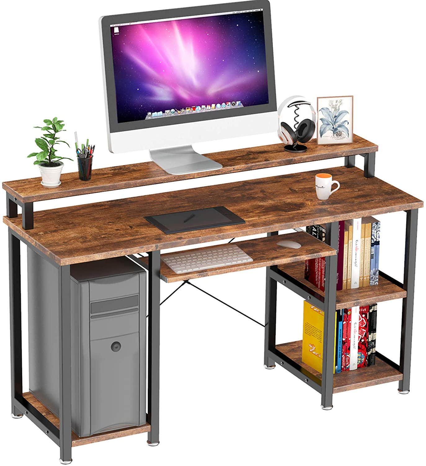 NOBLEWELL Computer Desk with Monitor Stand Storage Shelves Keyboard Tray,47