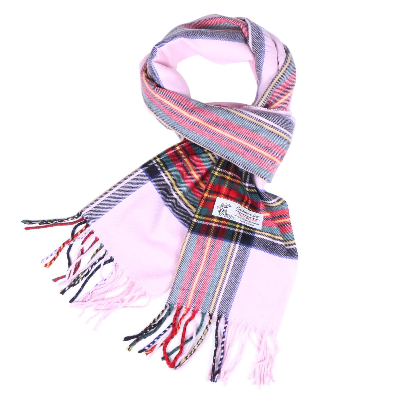 Plaid Cashmere Feel Classic Soft Luxurious Winter Scarf For Men Women (Tartan Pink)