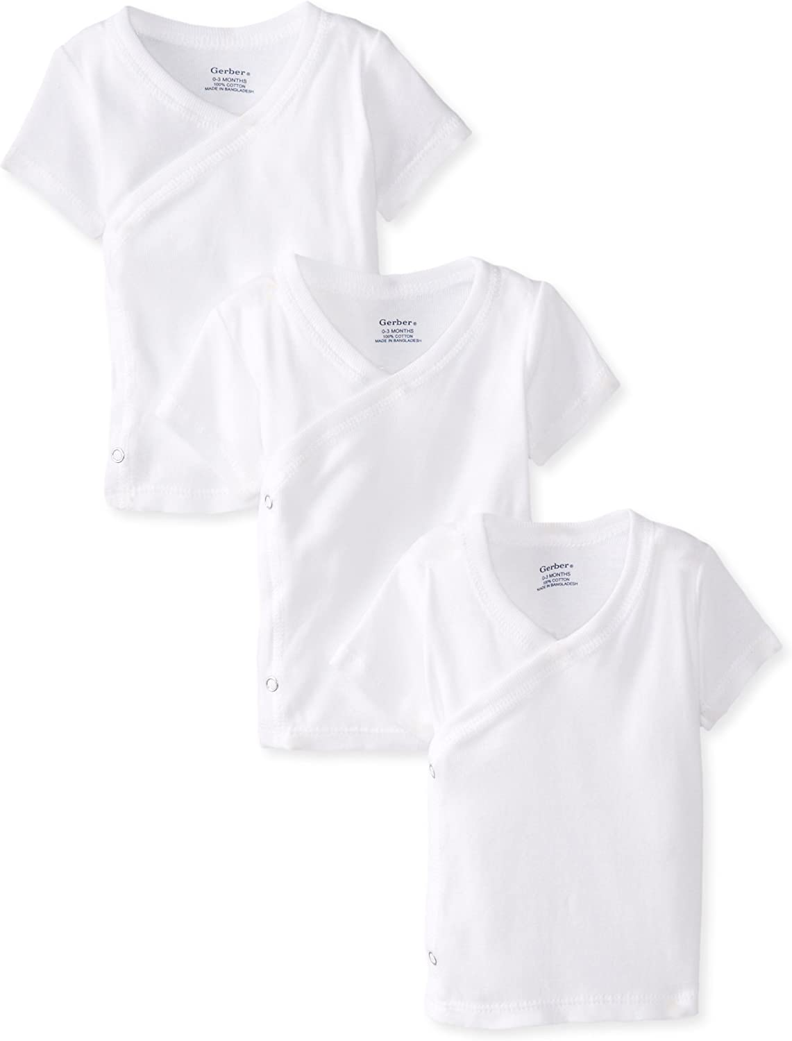 Gerber Unisex-Baby Newborn 3 Pack Short Sleeve Side Snap Shirt, White, 0-3 Months: Infant And Toddler Shirts: Clothing