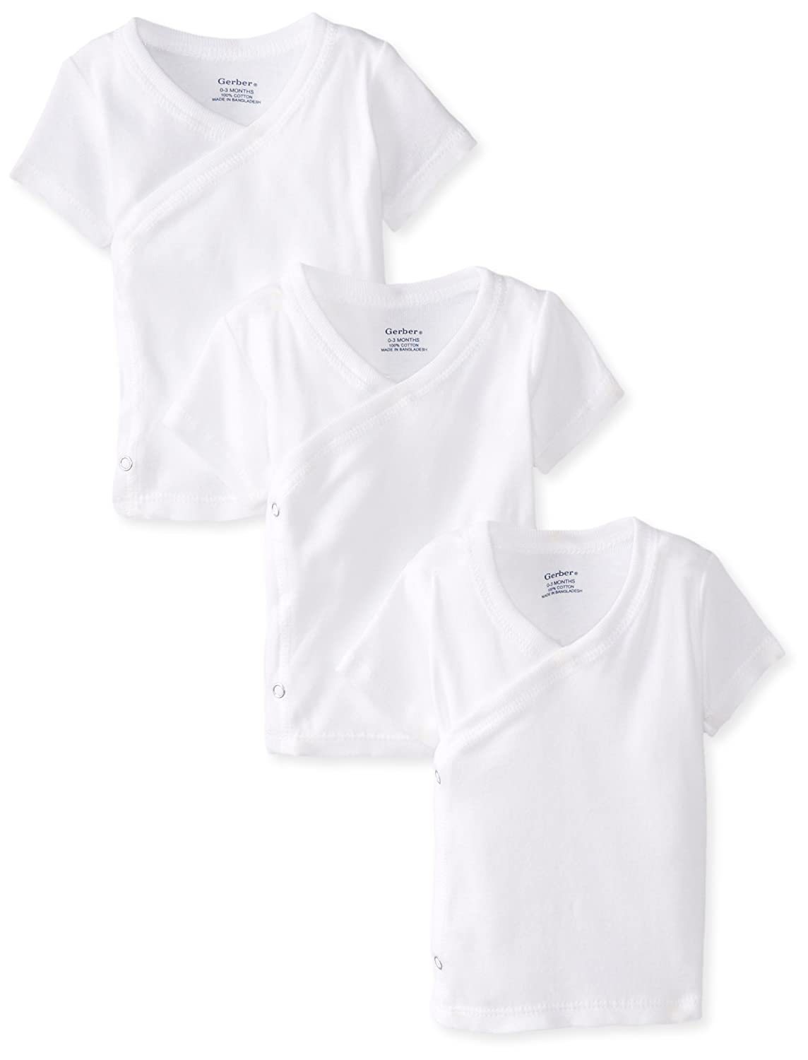 Gerber Unisex Baby 3 Pack Short-Sleeve Shirts with Side Snaps