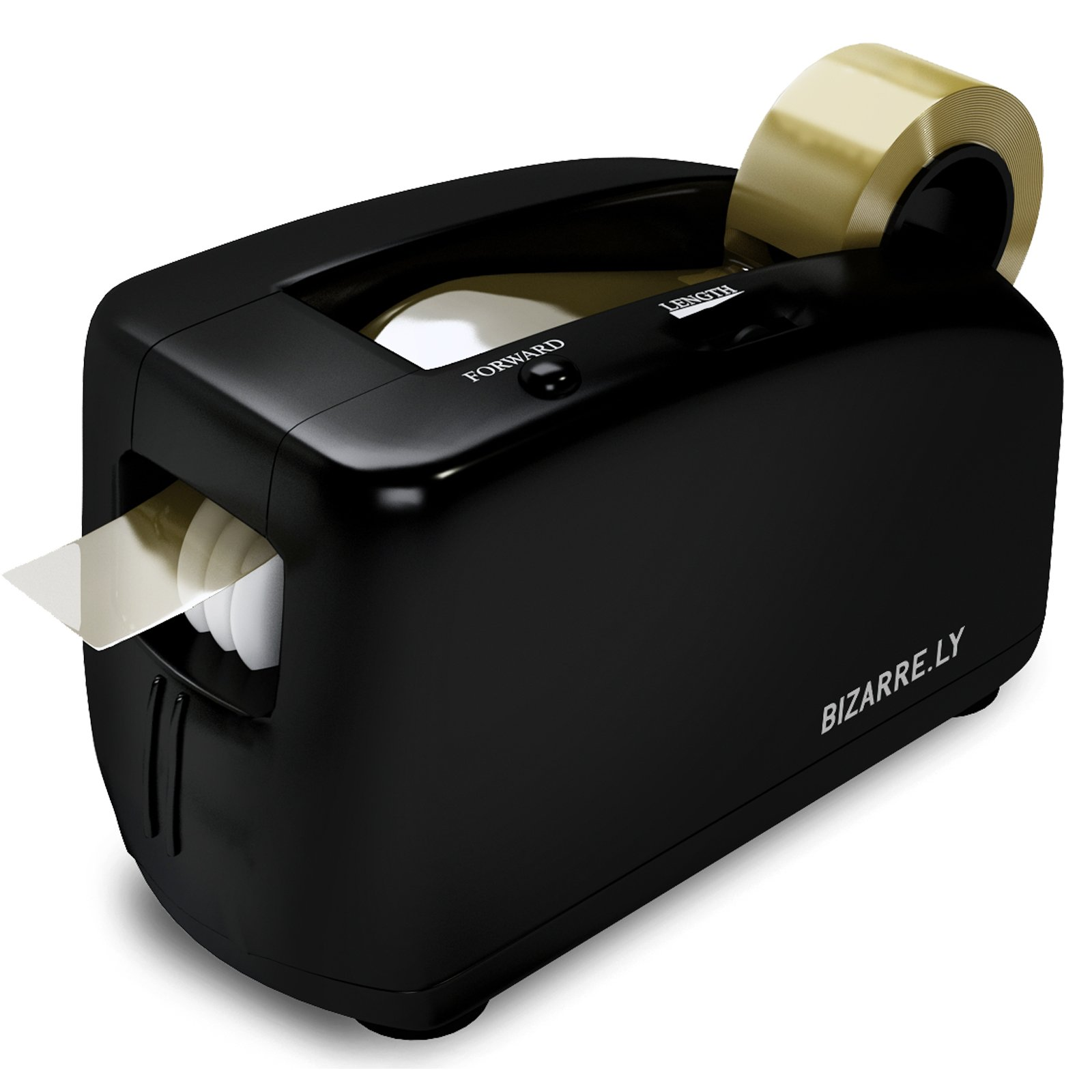 Automatic Electric Tape Dispenser by Bizarre.ly - Professional Heavy Duty Office Tape Dispenser with 1 Inch Core - Quiet, Compact and Portable - Includes Free Tape Roll and Warranty