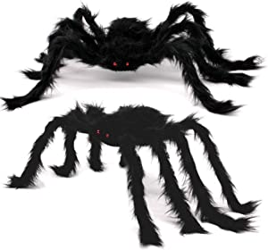 2 PCS Halloween Outdoor Decorations Hairy Spider, 30 Inches Large Black Spider, Scary Spider with Red Eyes, Indoor Outdoor Halloween Decorations for Costume Party Garden Yard Haunted House Porch