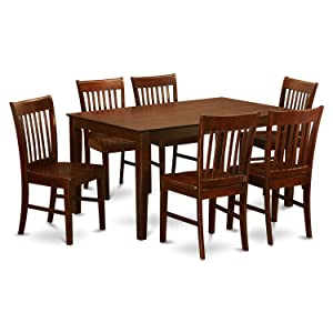 CANO7-MAH-W 7 PC Dining room set - Dinette Table and 6 Dining Chairs