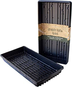 """10-Pack 1020 Garden Growing Trays with Drain Holes - 10"""" x 20"""" Plastic Plant Trays with Holes - Wheatgrass Sprouting Tray, Microgreens Seed Tray, Hydroponic Trays, Nursery Flats, Greenhouse Supplies"""
