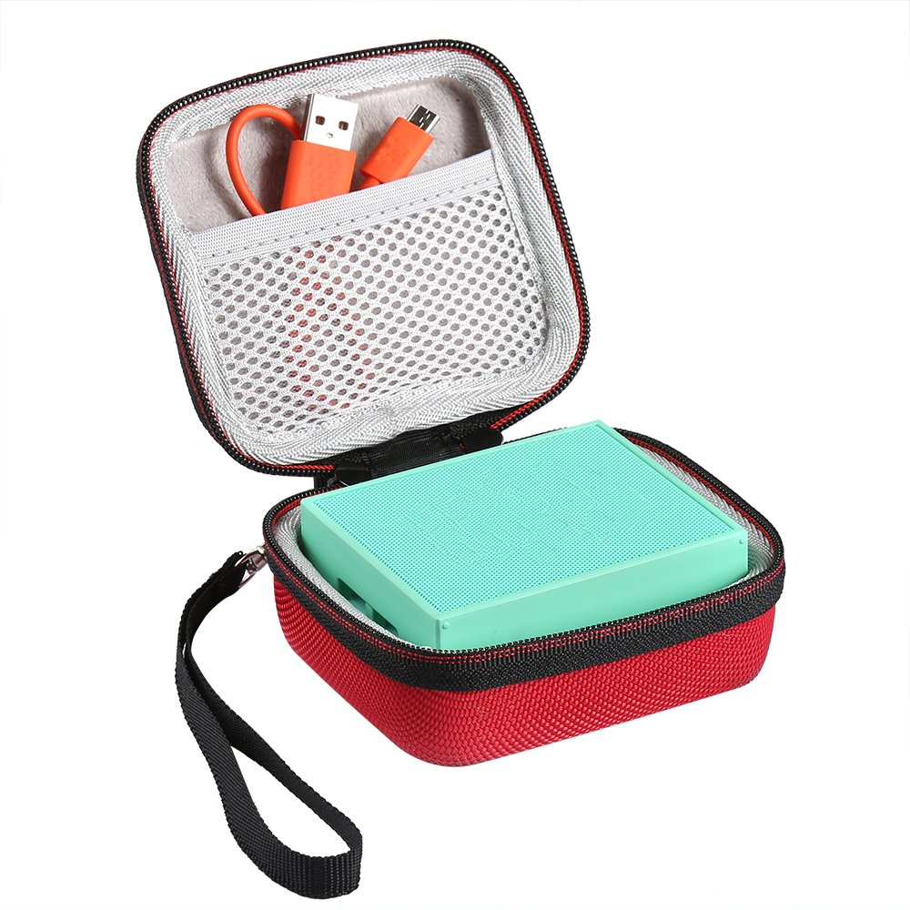 LuckyNV Hard Travel EVA Zipper Cases Mesh Pocket JBL Go / JBL GO 2 Bluetooth Wireless Speakers Charger Cables Strap Holding Hands Bag (Black)