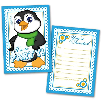 Amazon party invitation cards 20 cards with 20 envelopes party invitation cards 20 cards with 20 envelopes boy penguin themed made for filmwisefo