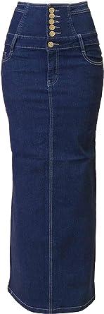 Fashion2Love Womens Junior//Plus Size Below Knee Length Midi Pencil Ripped Denim Skirt