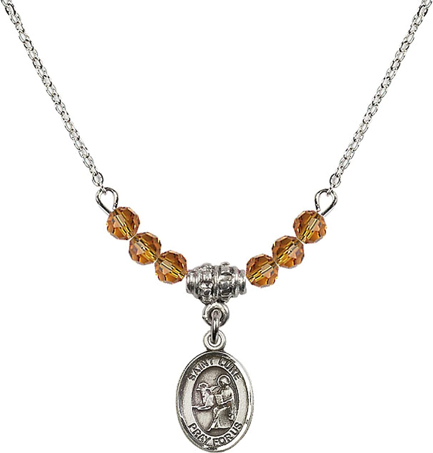 Bonyak Jewelry 18 Inch Rhodium Plated Necklace w// 4mm Yellow November Birth Month Stone Beads and Saint Luke The Apostle Charm