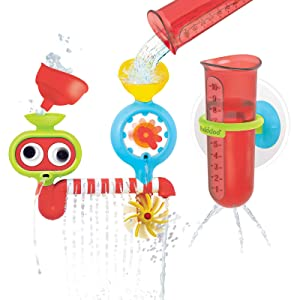 Yookidoo Baby Bath Toy - Spin 'N' Sprinkle Water Lab- Spinning Gear and Googly Eyes for Newborn Bathtime Sensory Development - Attaches to Any Size Tub Wall