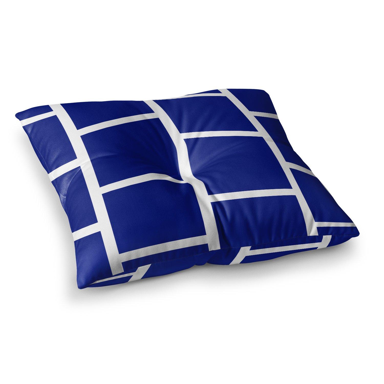 23 x 23 Square Floor Pillow Kess InHouse NL Designs Navy Blocks White Pattern
