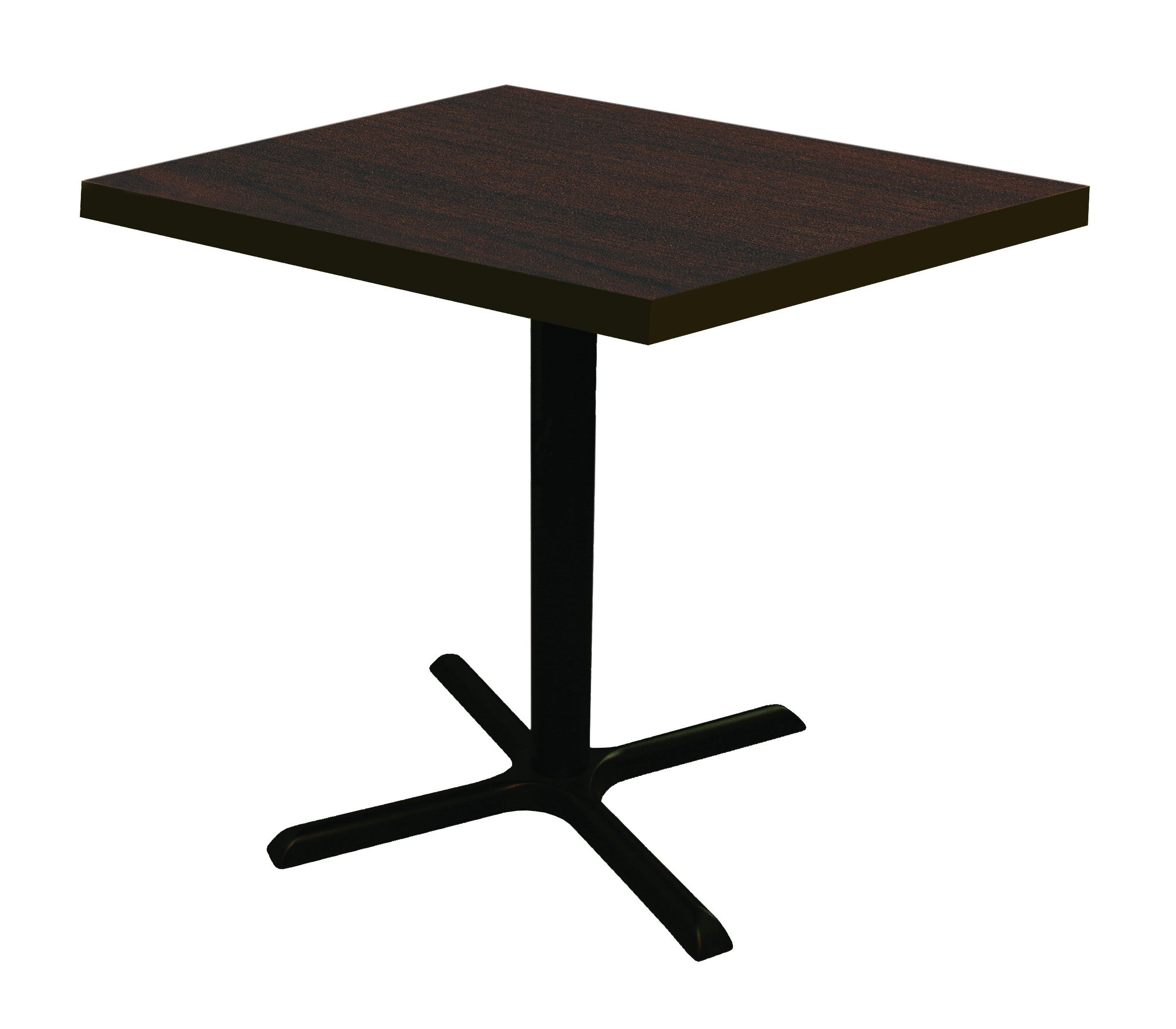 Square Conference, Break Room, Pub Height Table 30''D x 30''W x 42''H - Columbia Walnut Laminate/ Black Finish