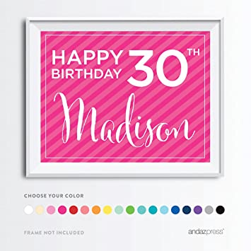 Andaz Press Personalized Milestone Birthday Wall Art Poster Signs 30th Gifts Decorations And