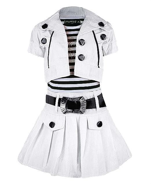 Niñas con cinturón para vestido sin mangas & mango corto-Chaqueta de diamante modelo Apple