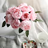 Luyue peonia fiori di seta artificiale bouquet Home festa nuziale nuziale vintage decorazione floreale 6teste di peonia Candy Pink