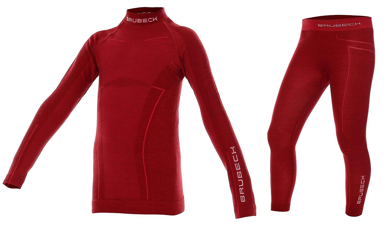 Brubeck Merino Kinder Thermo Funktions-Unterwäsche Set: Shirt + Hose | Sport | Schutz | Outdoor | Ski-Wäsche | 41% Merino-Wolle | LS13690 + LE12130