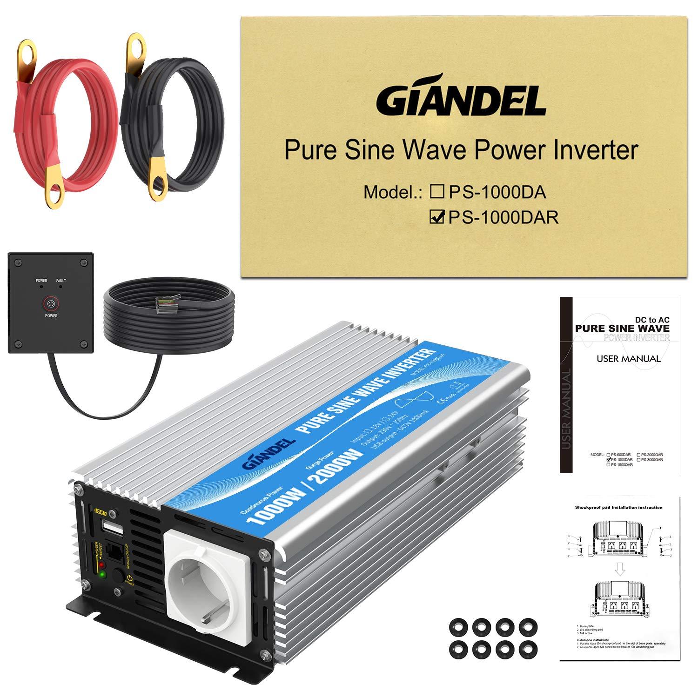Giandel Inversor de Corriente de Onda Pura 1000w CC 12V a CA 230V con Mando a Distancia con Toma de CA /& 2.4A Puerto USB para RV Truck Car