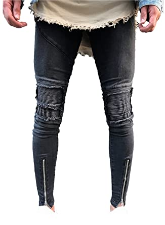 888f6314f07 LOSIBUDSA Men's Skinny Slim Fit Straight Ripped Destroyed Distressed Zipper  Stretch Knee Patch Denim Pants Jeans