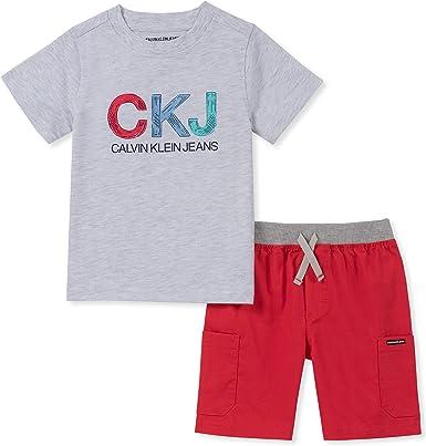 Calvin Klein Baby Boys 2 Pieces Shorts Set, Gray/red, 24M