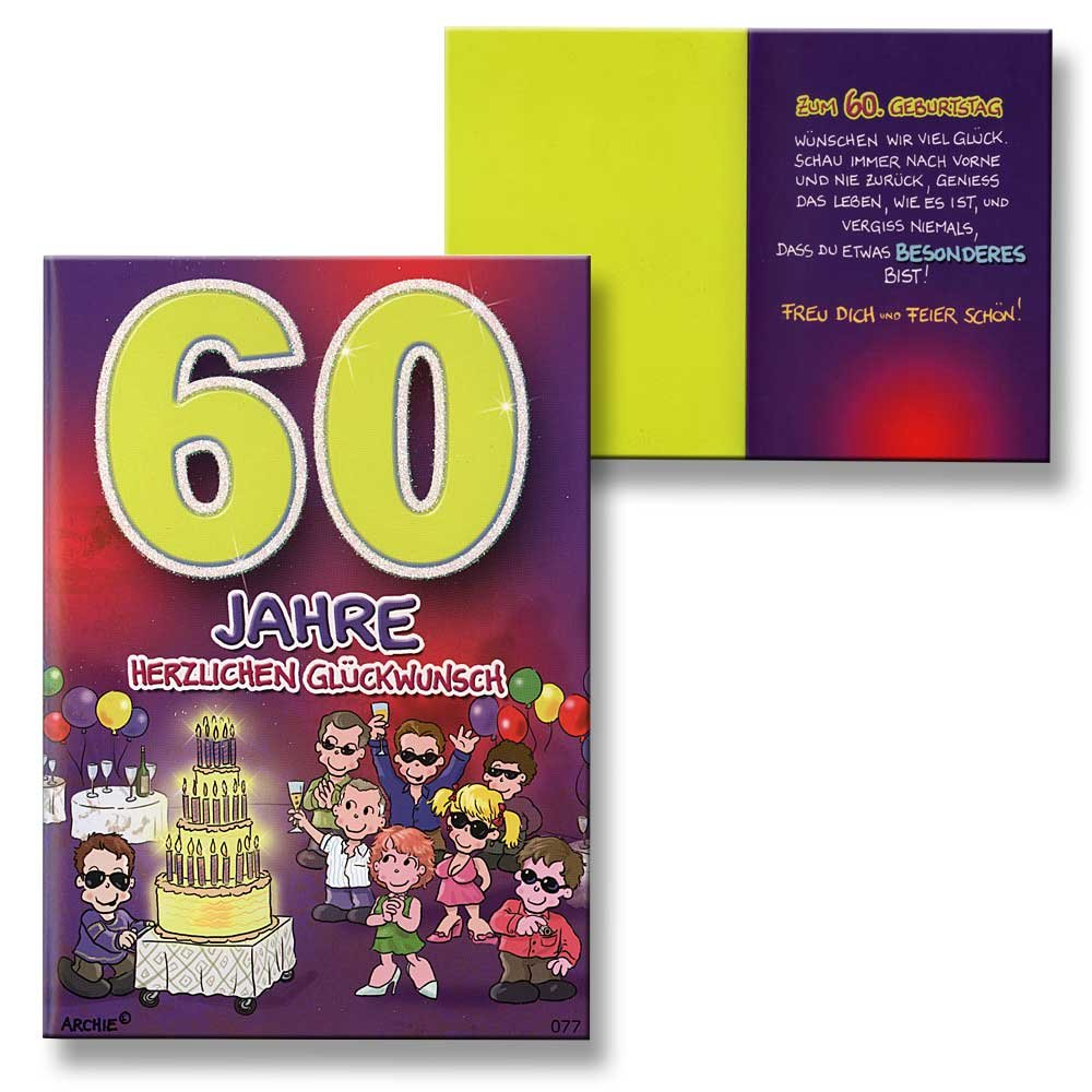 60th Birthday Young Girls Purple Children New Baby Card Archie