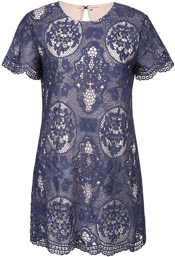 Mini Dress for Women Lace Patchwork Short Sleeve O-Neck Casual Loose Straight Dresses