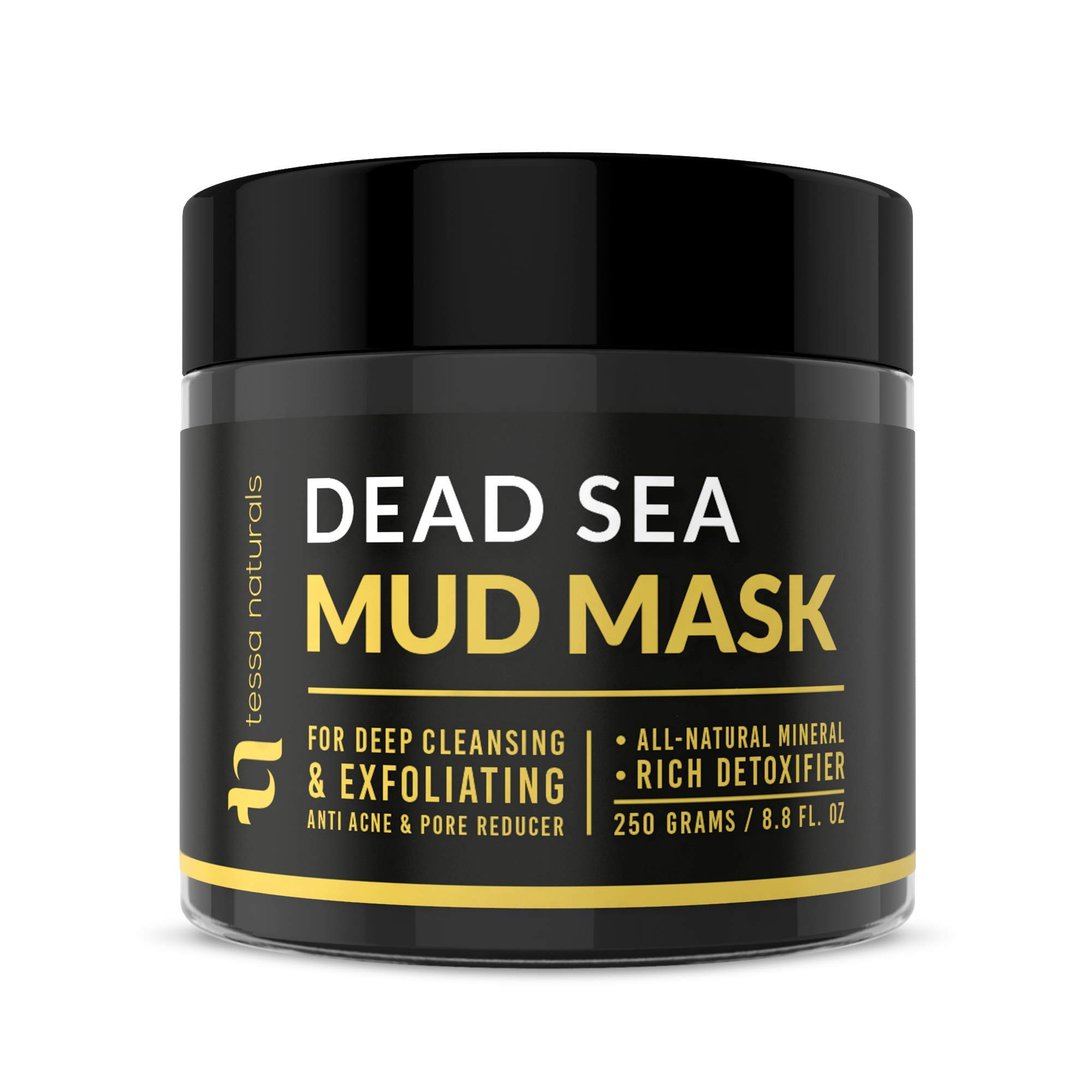 Dead Sea Mud Mask - Enhanced with Collagen - Reduces Blackheads, Pores, Acne, Oily Skin - Visibly Healthier Face & Body Complexion - All Natural Anti-Aging Formula for Women & Men by Tessa Naturals