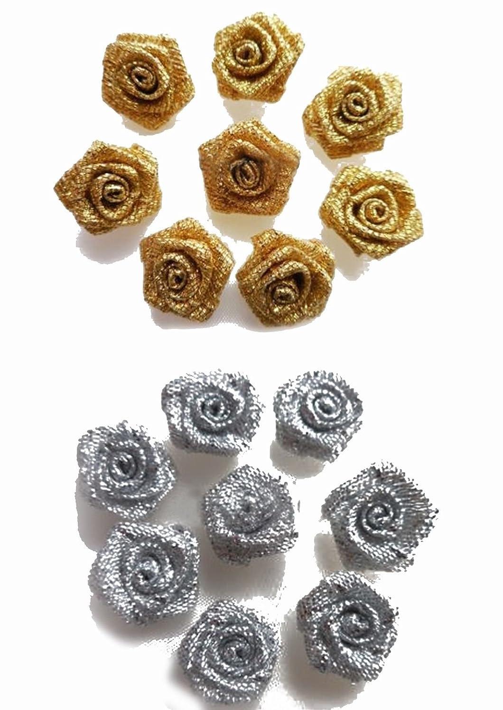 Fabric star blossoms green beige spot dot button craft embellishments flowers