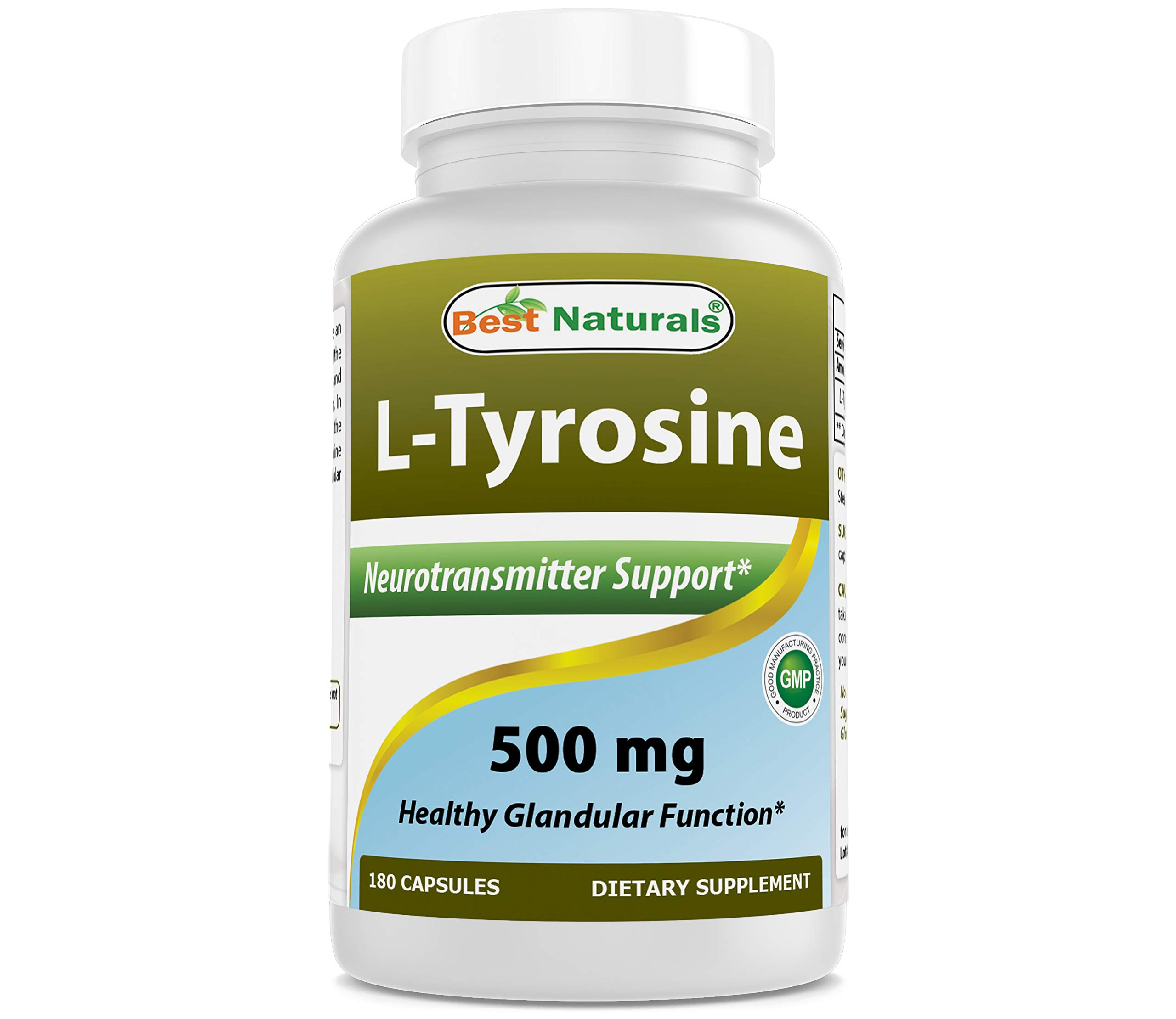 Best Naturals L-Tyrosine 500 Mg 180 Capsules - Supports Mental Alertness, Energy, Focus, Healthy Glandular Function and Balance by Best Naturals
