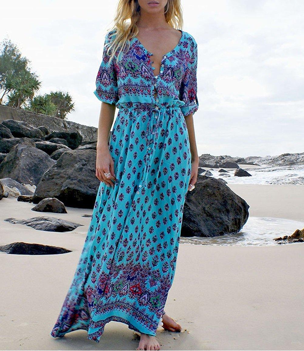 JudyBridal Women's Boho V Neck Sexy Button Closure Floral Beach Maxi Party Dress L Lake Blue by JudyBridal (Image #2)