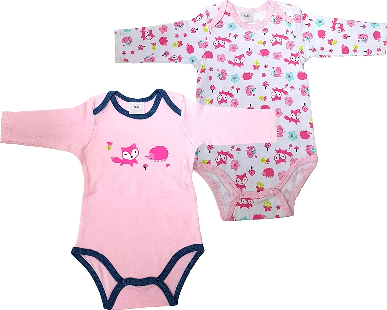 2er Pack Baby Body 100/% Baumwolle Baby Unterw/äsche 2st/ück Erste Qualit/ät Langarm Body Pink//Fox+Wei/ß