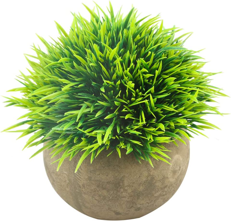 Svenee Mini Artificial Plants, Plastic Fake Green Grass Faux Greenery Topiary Shrubs with Grey Pots for Bathroom Home Office Décor, House Decorations (Green-A, 1) -