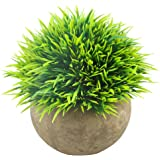 Svenee Mini Artificial Plants, Plastic Fake Green Grass Faux Greenery Topiary Shrubs with Grey Pots for Bathroom Home Office