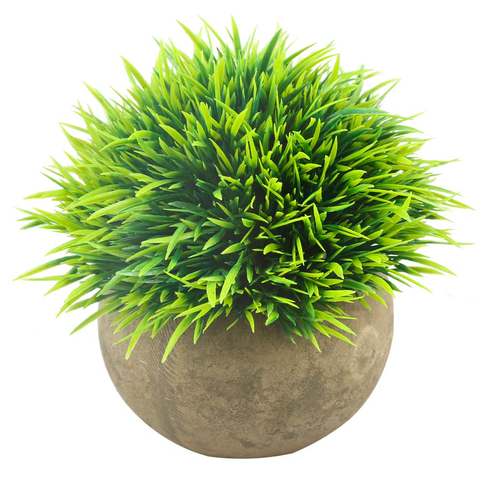 Svenee Mini Artificial Plants, Plastic Fake Green Grass Faux Greenery Topiary Shrubs with Grey Pots for Bathroom Home Office Décor, House Decorations