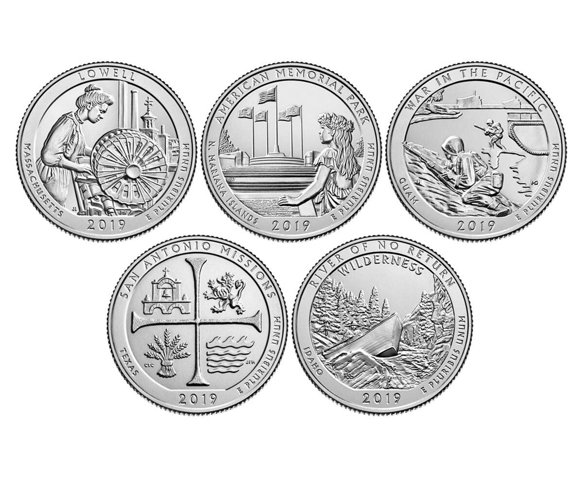 2019 S BU National Parks Quarters - 5 coin Set San Francisco Mint Uncirculated