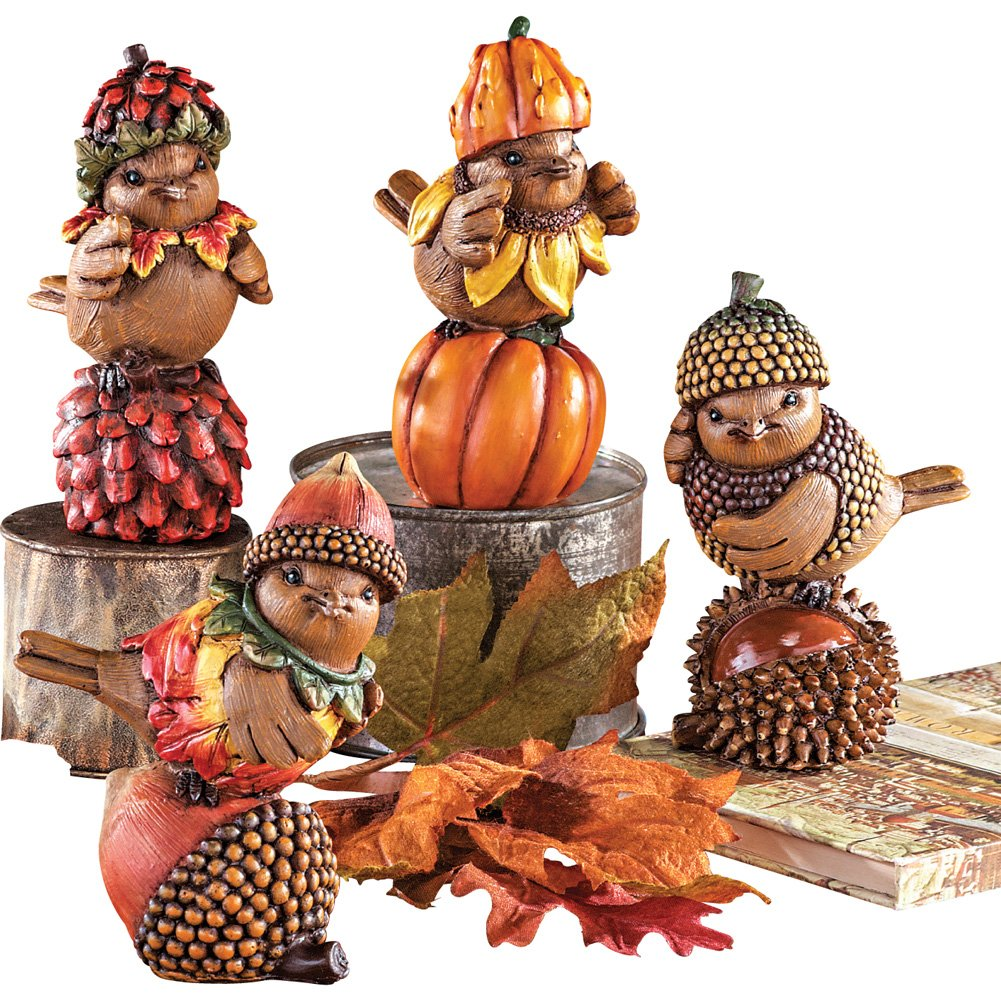 Fall Harvest Bird Sitter Decorations - Set of 4 by Collections Etc