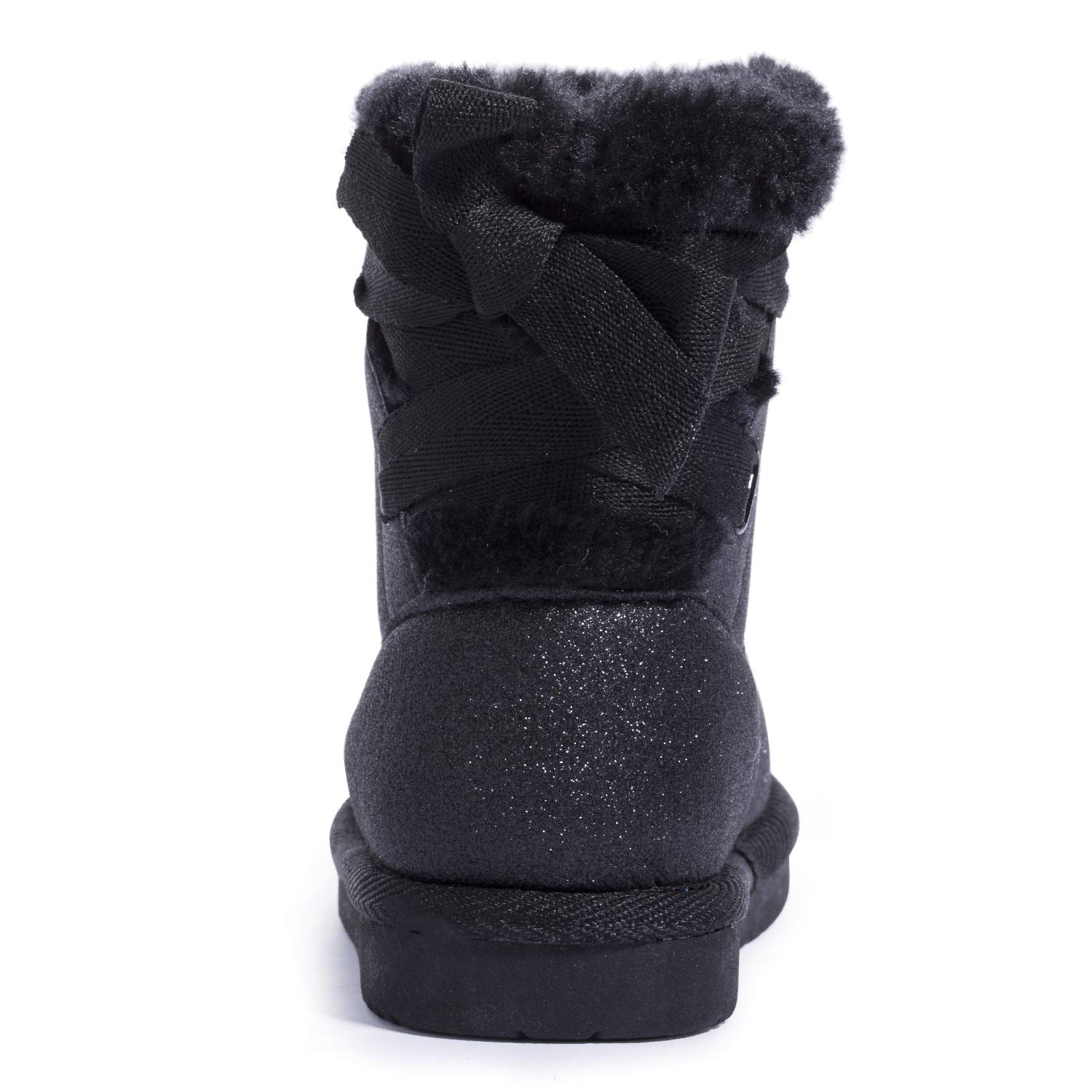 KRABOR Toddler Girls Glitter Winter Boots Warm Fur Lining Non-Slip Snow Shoes with Cute Bow Size 5-11