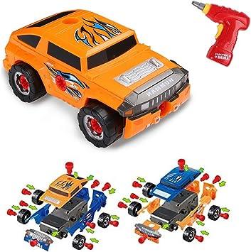 Car Take Apart Desmontables Coche de 36 Piezas para Niños, Vehículo Todoterreno,con Taladro Eléctrico,4 Tipos de Combinaciones,Juguetes Niños del