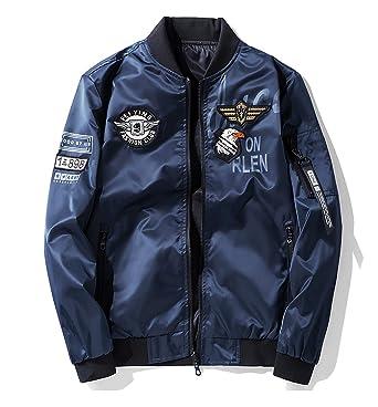 929171e618b8cc Amazon   MA-1 ジャケット ミリタリージャケット 両面着 ブルゾン 男女兼用 防風撥水 刺繍 ワッペン 大きいサイズ ジャンパー    コート・ジャケット 通販