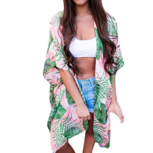 05a9367532 ®GBSELL Women's Hippie Pink Green Leaf Loose Shawl Kimono Cardigan Cover up  Blouse (S