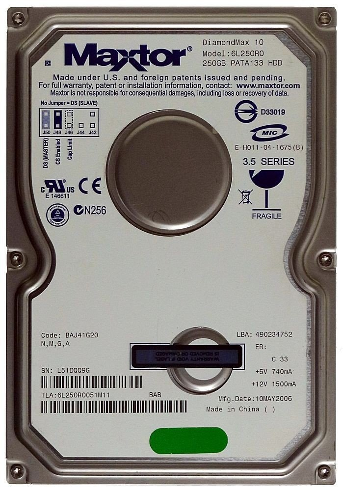Maxtor 250GB HDD DiamondMax 16 6L250R0 IDE ID13286