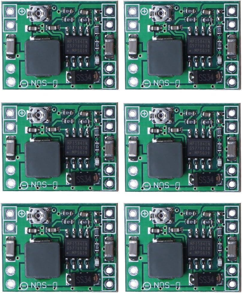 sicai Paquete de 6 placas Mini MP1584EN, CC-CC, convertidoras de CC o adaptadoras de corriente o alimentación de 24V a 12V, 9V, 5V o 3V