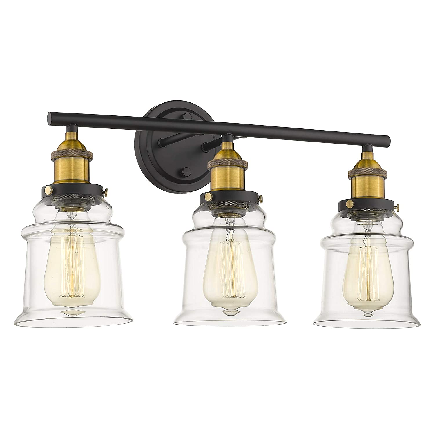 Vanity Lights Wall Lights Bathroom Vanity Lighting, Beionxii 21 in Length 3-Lights Industrial Retro Antique Wall Sconce Lamps Brushed Brass Black Finish with Clear Glass Shade for Bathroom Kitchen