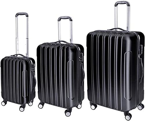 Koval Inc. 3 pcs. Travel Carry-On Hard Shell 4-Wheel Suitcase Set Black