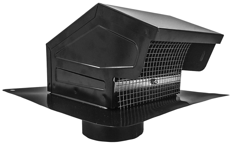 Builder's Best 012635 Roof Vent Cap, Black Galvanized Metal, with 4-inch diameter collar