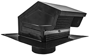 Builder's Best 012635 Roof Vent Cap, Black Galvanized Metal, with 4-inch diameter collar