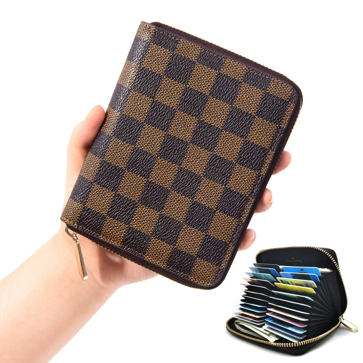 dadd7d86117d Women RFID Blocking Credit Card Holder Case Accordion Leather Wallet ...