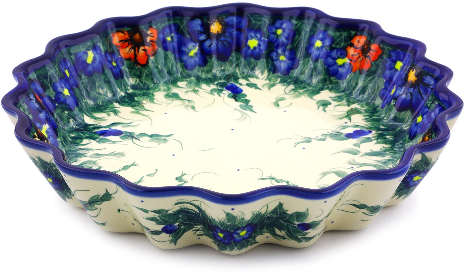 Polish Pottery Fluted Pie Dish 12-inch (Spring Bouquet Theme) Signature UNIKAT by Polmedia Polish Pottery